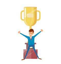 Man in suit raised hands up big golden trophy cup vector