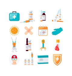 medicine items concept in flat style vector image