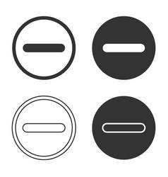 minus negative line icon shape button vector image