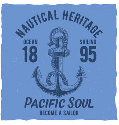 nautical t-shirt label design vector image