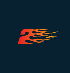 Number 2 fire flame logo speed race design vector