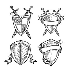 Old or retro medieval royal signs as shields vector