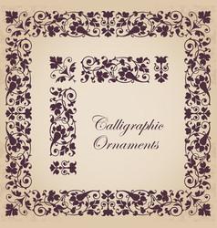 ornamental calligraphic corner border and frame vector image