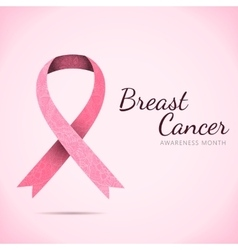 Ornate Ribbon of Breast Cancer on abstract pink vector image
