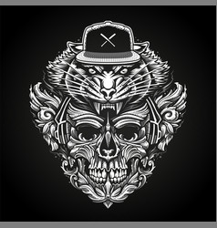 ornate skull in headphones and tiger head in vector image