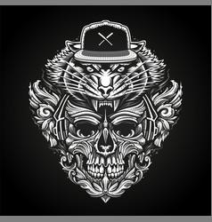 Ornate skull in headphones and tiger head vector