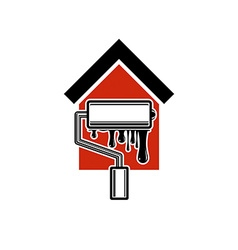 Paint roller icon build materials for wall vector