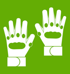 Pair of paintball gloves icon green vector