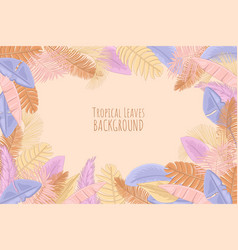 Palm leaves pastel background vector