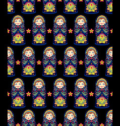 Pattern with russian dolls matryoshkas vector