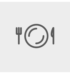 Plate knife and fork thin line icon vector