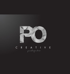 Po p o letter logo with zebra lines texture vector