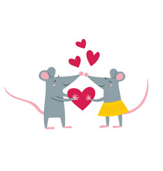rat couple in love vector image