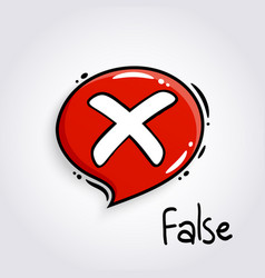 Red speech bubble with cross sign vector