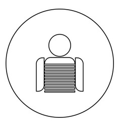seaman black icon outline in circle image vector image
