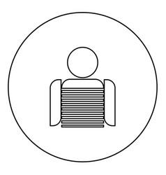 Seaman black icon outline in circle image vector