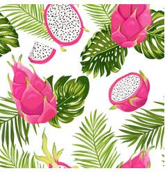 Seamless dragon fruit pattern pitaya background vector
