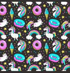 seamless pattern in cartoon 80s-90s comic style vector image vector image