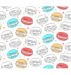 seamless pattern of contour macaroons with color vector image