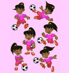 Set cartoon little girl soccer player vector