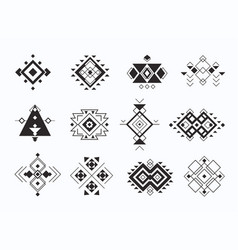 set ethno tribal aztec symbols geometric vector image