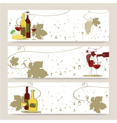 Set of horizontal banners with glass of red wine vector image