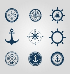 Set of nautical labels icons logo symbol vector image