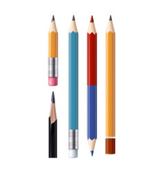 Set of sharpened pencils of various types vector