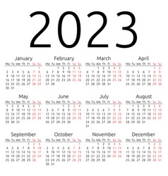 Simple calendar 2023 monday vector