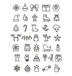 Simple set of christmas icons vector
