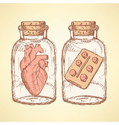 Sketch medical set in vintage style vector image