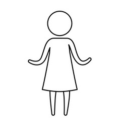 sketch silhouette of pictogram woman in dress with vector image