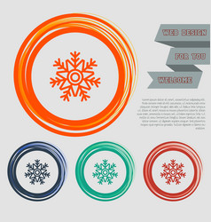 Snowflake icon on red blue green orange vector
