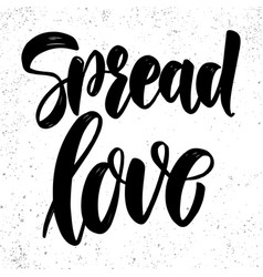 spread love lettering phrase on light background vector image