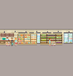 supermarket store with goods big shopping center vector image