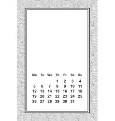 template calendar for month 2 0 1 8 hand vector image