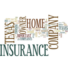 Texas home owner insurance company text vector