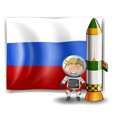 The flag of Russia at the back of an explorer vector image
