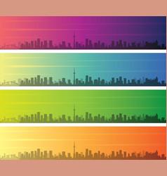 toronto multiple color gradient skyline banner vector image