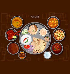 traditional punjabi cuisine and food meal thali of vector image
