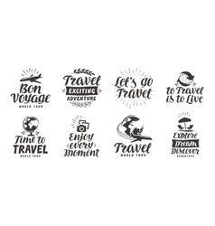 Travel adventure set icons handwritten lettering vector