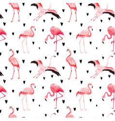 Tropical flamingo hearts seamless summer pattern vector