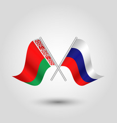 Two crossed belarusian and russian flags vector
