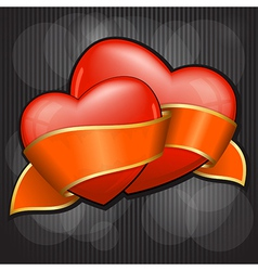 valentines day two heart with orange ribbon eps 10 vector image