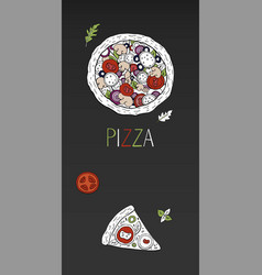 Vintage vertical pizza banner on black background vector