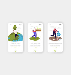 volunteers saving earth nature mobile app page vector image