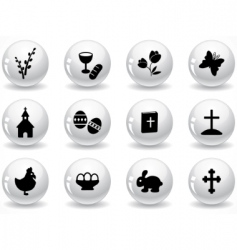 Web buttons easter icons vector