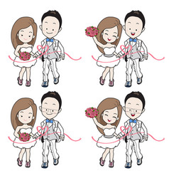 Wedding cartoon in running athletics and sport vector
