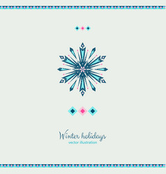 winter grunge colorful ornate shape ice snowflake vector image