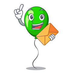 With envelope green baloon on left corner mascot vector